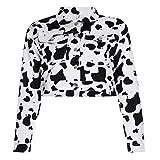 Photo de Yanni Veste courte en jean à manches longues pour femme Imprimé vache au lait Noir et blanc - - L