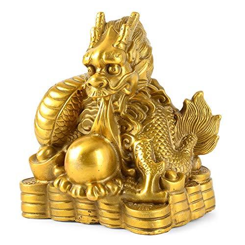 J.Mmiyi Feng Shui Estatua Adornos Chino Latón Coleccionables Zodiacovaca/Tigre/Conejo/Dragón/Serpiente/Caballo/Oveja/Mono/Pollo/Perro/Cerd Escultura Figura Decoracion Regalo,Dragon