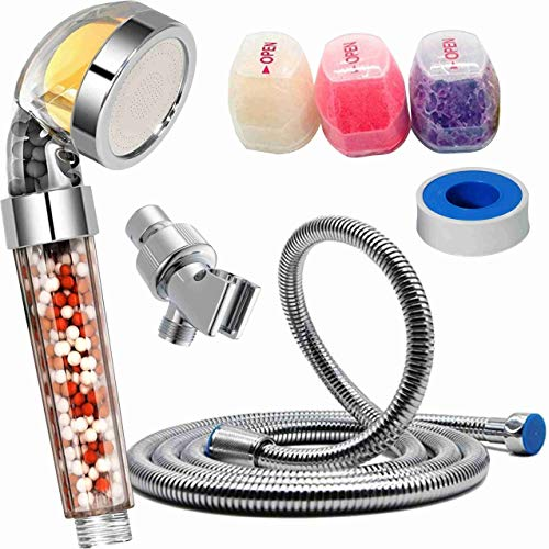 Vitamin C Universal Hard Water Softening Filter Shower Head with Hose, Holder & Replacement Scent Balms – Purifying & Removes Chlorine, Fluoride & Heavy Metals - Help Dry Skin and Hair for Youth