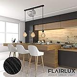 Flairlux Baldachin rechteckig Lampe 3 flammig schwarz Metall Lampenbaldachin rechteckig zum Bau von Deckenleuchten | Lampe für Esstisch | Lampenaufhängung Lampenzubehör DIY | L 70 x B 5 x H 2,5 - 6
