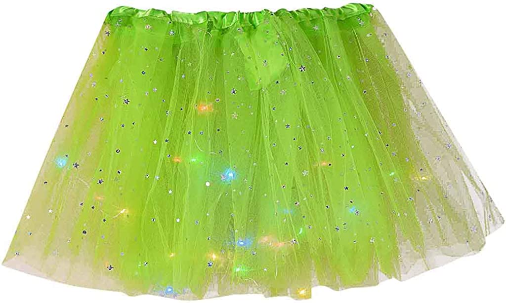 Womens' Pleated Star Sequins with LED Layered Gauze Mesh Skirt Adult Tutu Party Dance Ballet Mini Skirt