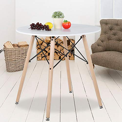GOTOTOP Küchen-Esstisch weiß rund Couchtisch Beistelltisch modern Freizeit Holz Teetisch Büro Konferenztisch Standtisch Schreibtisch