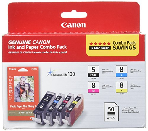 Price comparison product image Canon PGI-5 / CLI-8 CMY Ink with PP-201 (50 Sheets) Combo Pack (0628B027AA)
