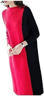 Howely Women Long Sleeve Fashion Knit Colorblock Loose Loose Midi Dress