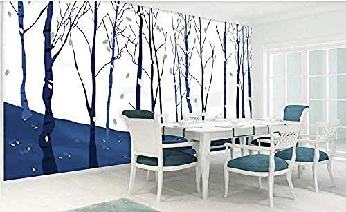 ZZXIAO Blaue handgemalte Holzseitenwandtapete Blau für Hauptschlafzimmer-Wohnzimmer-Tapeten-Wandverkleidung wandpapier...