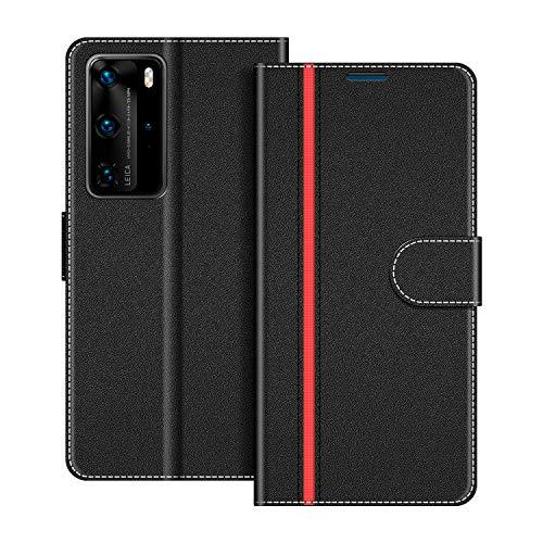 COODIO Handyhülle für Huawei P40 Pro Handy Hülle, Huawei P40 Pro Hülle Leder Handytasche für Huawei P40 Pro Klapphülle Tasche, Schwarz/Rot