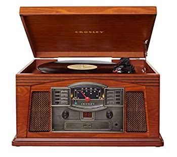 Crosley CR42D-PA Lancaster 3-Speed Turntable with Radio CD/Cassette Player Aux-in and Bluetooth Paprika