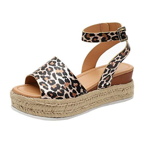 Sandalias Mujer con Sandalias Wedge Plateau con Correa en el Tobillo Sandalias Bajas de Verano Alpargatas de Punta Abierta Zapatos Elegantes para Mujer Cómodos (35 EU, Leopardo)
