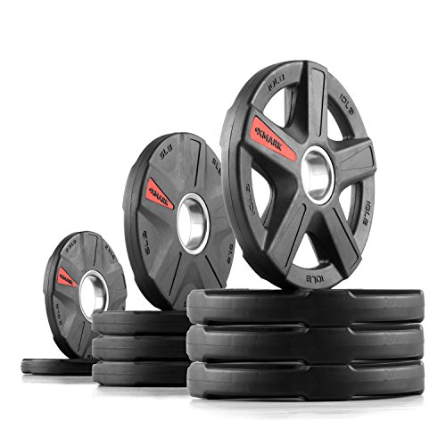 XMark Texas Star 65 lb Set Olympic Plates, Patented Design, One-Year Warranty, Olympic Weight Plates