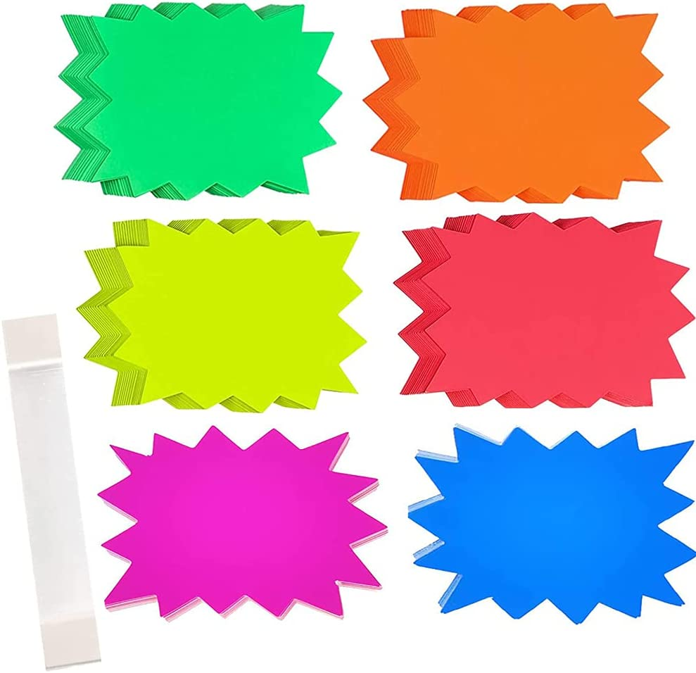 Ranking TOP20 60Pieces Starburst Signs Star Fluorescent Paper Mesa Mall Retail for Neon