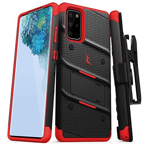 Zizo Bolt Series Schutzhülle für Galaxy S20 Plus, mit Ständer und Schlüsselband, schwarz/red