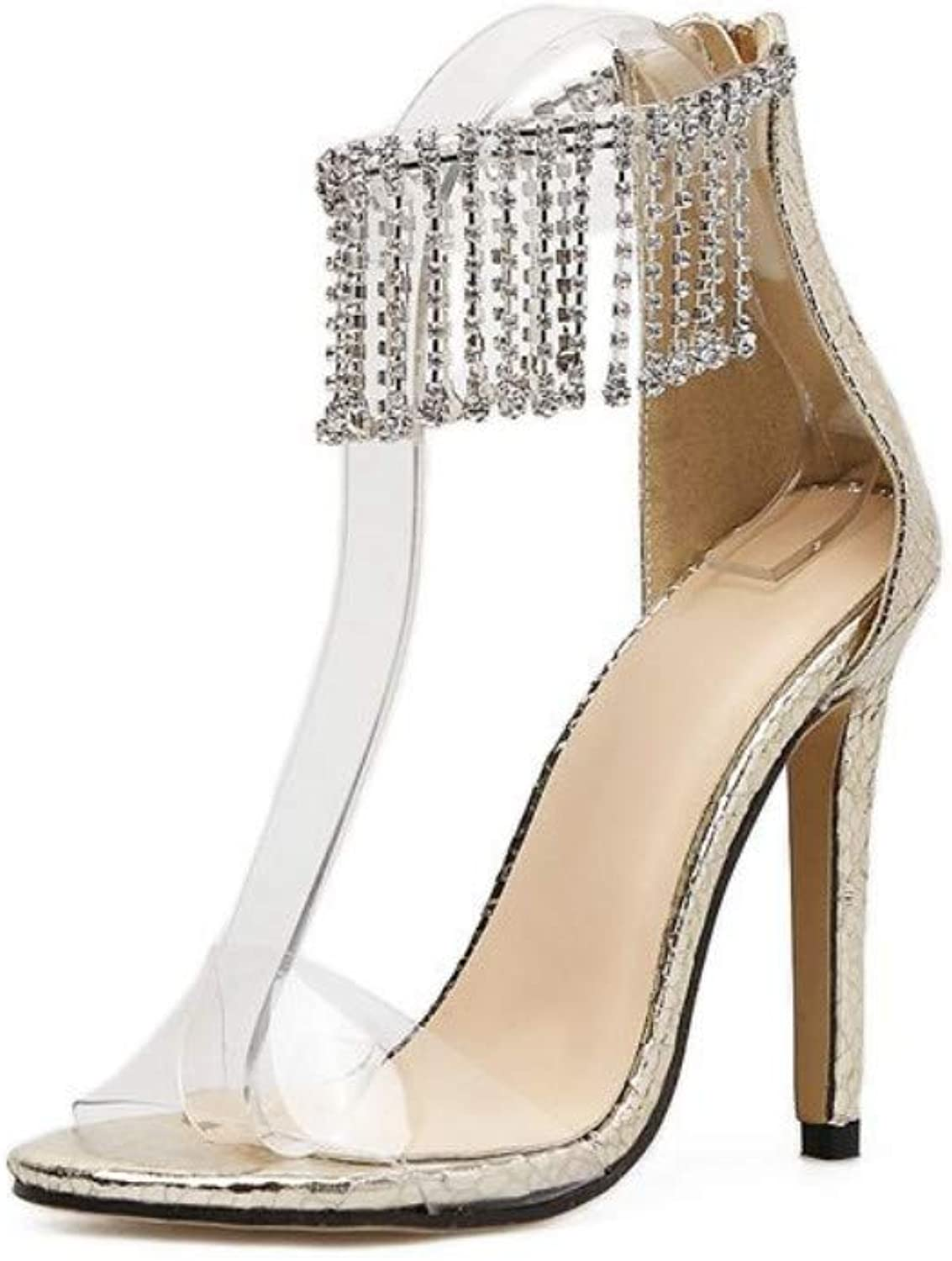 JQfashion Ladies'High-Heeled Sandals Transparent Tassels Roman High-Heeled shoes with Diamond Pointed Thin Heels