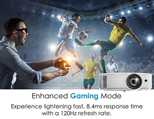 Optoma GT1080HDR Short Throw Gaming Projector   Enhanced Gaming Mode for 1080P 120Hz Gaming at 8.4ms   4K UHD Support   Play HDR for 4K and 1080P   High 3800 lumens for Day & Night Gaming, White