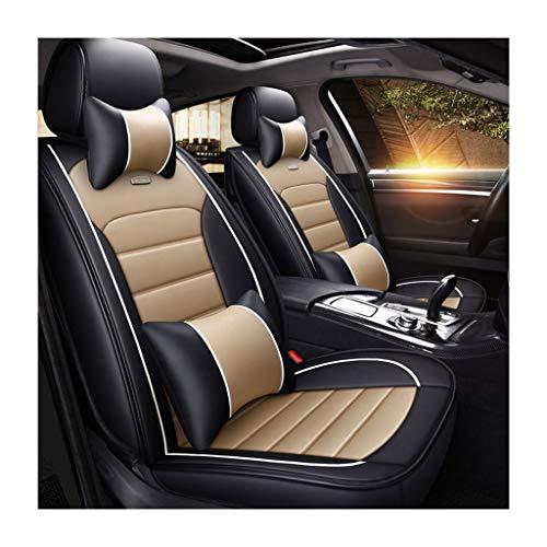 XQW autostoelhoes, volledige set voor 5 zitplaatsen, geschikt voor het hele jaar rond, comfortabel zacht nekkussen en Lumbar-kussen, compatibele airbag, zacht en duurzaam leer