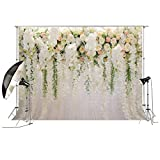 Bridal Shower 10x6.5ft Wedding Floral Wall Backdrop White and Green Wisteria Rose Flowers Outdoor Background for Photography XT-6749