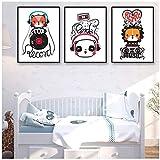 Poster Dekor Wohnzimmer Wand Leinwand Bilder Cartoon Tiere Fox Panda Drucke Musik Headset Malerei Kunst Nordic Style 3x40x50cm (15.7x19.7 in) Kein Rahmen