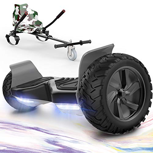 "GeekMe Hoverboards,Off Road Hoverboards with Hoverkart,8.5"" Hoverboards All Terrain with APP, Bluetooth Speaker,LED lights"