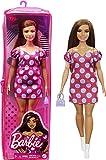 Barbie Fashionista Muñeca curvy vitiligo con vestido de lunares y accesorios de moda de juguete (Mattel GRB62)