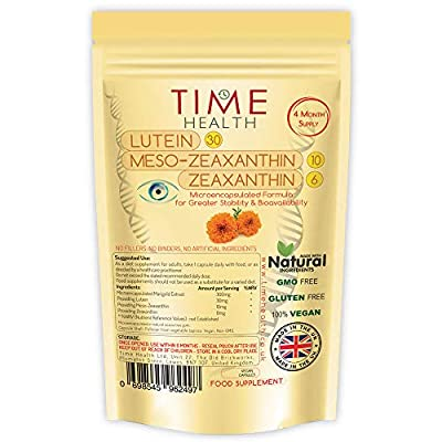 Micro-encapsulated Formula - Lutein 30mg - Meso-zeaxanthin 10mg - Zeaxanthin 6mg - 100% Pure, Natural & Highly Bioavailable - 4 Month Supply - UK Manufactured - Zero Additives - (120 Capsule Pouch)