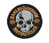 GZM Parche Bordado Skull Replica Harley Davidson 11cm con Termo Adhesivo para Chalecos y Chaquetas Biker