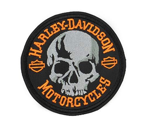 GZM Aufnäher bestickt Skull Replica Harley Davidson 11 cm mit Thermokleber für Weste und Jacken Biker