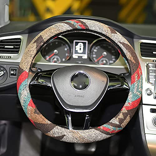 LSAUTO Universal 15inch Ethnic Style Baja Blanket Steering Wheel Cover with Coarse Flax Cloth and Sweat Absorption Anti Slip Car Wrap¡SWC08