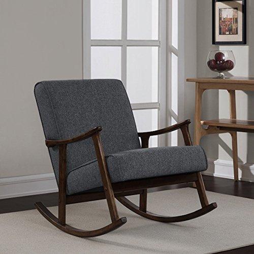 Retro Wooden Grey Fabric Rocker Glider Chair