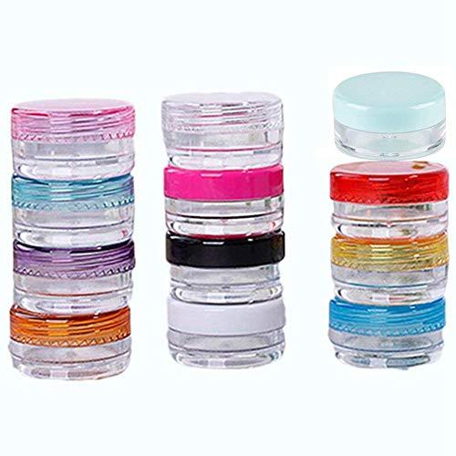 SODIAL 12 Piezas Surtidos 5G Botes Tarros de Maquillaje de Plástico Vacío Envases Cosméticos/Loción/Crema Facial de Viaje Botellas de Muestra (Clasificado)