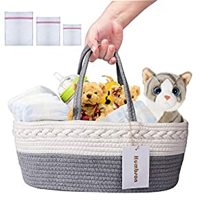 Diaper Caddy Organizer – Humbson Baby Diaper Basket 100% Cotton Canvas Caddy Organizer Portable Rope Nursery Storage Shower Gift Bag for Changing Table and Car with 3 Laundry Bags