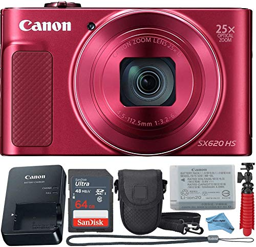 Canon Powershot SX620 (Red) Point & Shoot Digital Camera + Accessory Bundle + Inspire Digital Cloth
