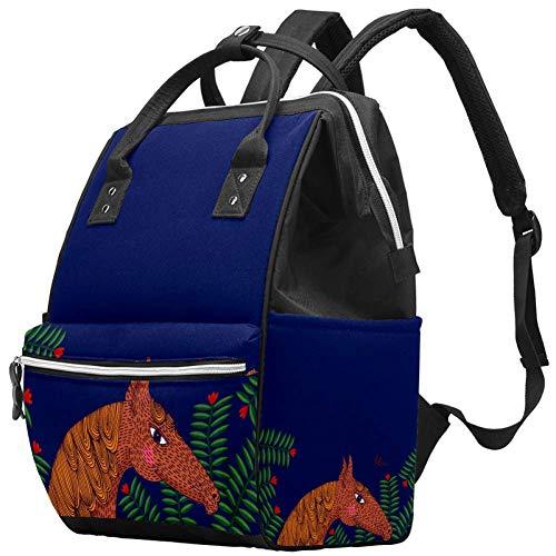 Multifunktionale große Baby-Wickeltasche, Rucksack, Wickeltasche, Reisetasche, Rucksack für Mama und Papa, tropische Pflanzen und Hirsche