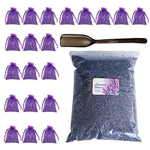 Tenrry Natural Dried Lavender Buds for Sachets - 8.8 OZ Dried Lavender Flower Buds with 20 Sachet Bags, Dried Lavender Buds for Soap Resin Candle Making Bath Salts Home Decoration