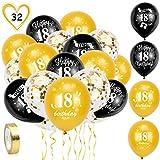 HOWAF 18. Geburtstag Luftballons, 30 Stück Schwarz Gold 18. Geburtstags Deko Ballons Latex Konfetti Luftballons & 2 Bänder für Junge Mädchen 18. Geburtstag Party Dekorationen - 12 Zoll (Alter 18)