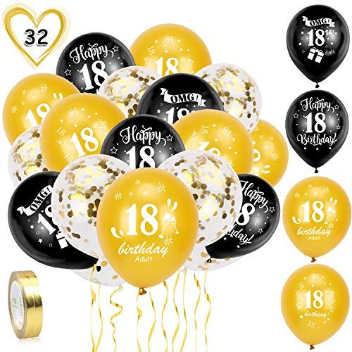 HOWAF Globos de cumpleaños, 30 Piezas 18 años cumpleaños Globos de Latex, Negro Oro Globos de Confeti y 2 Cintas para Chico y Chica Fiestas de 18 cumpleaños decoración Suministros