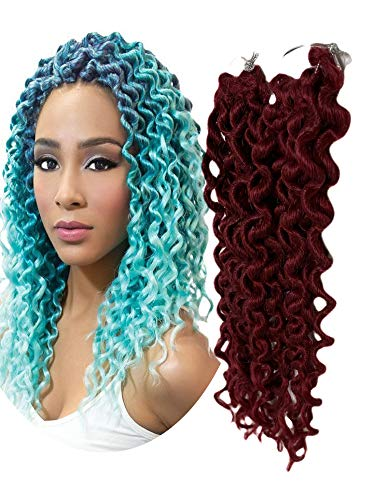 Goddess Curl Locs 14 Inch Synthetic Nu Faux Locs Crochet Braids Hair 5 Packs Curly Wavy Goddess Locs Braiding Hair for Women African Roots Braid Hair Extensions (BG)