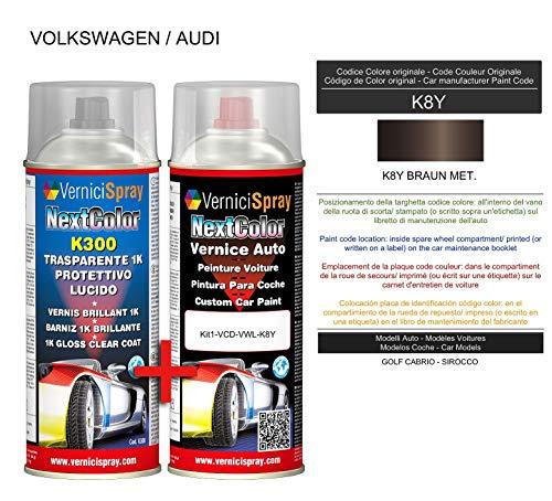 Kit de retoque automotriz – Pintura en spray para coche en color metálico/perla K8Y BRONUN. y brillo Clear Coat, 400 ml spraycans por VerniciSpray