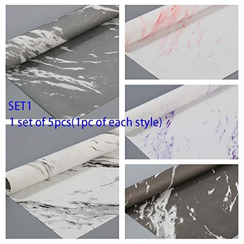 5/6 Stück Marmor Muster Geschenkpapier handgemacht DIY Scrapbook Dekoration Basteln Papier Geburtstag Geschenk Bouquet Geschenkpapier, Papier, 1 set of 5pcs(style 1 to 5)