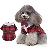 Less bad Lifeunion Dog Suit Bow Tie Suit Costume Formal Business Tuxedo Clothes for Small Dogs Wedding Party Halloween (Small, Red Plaid)