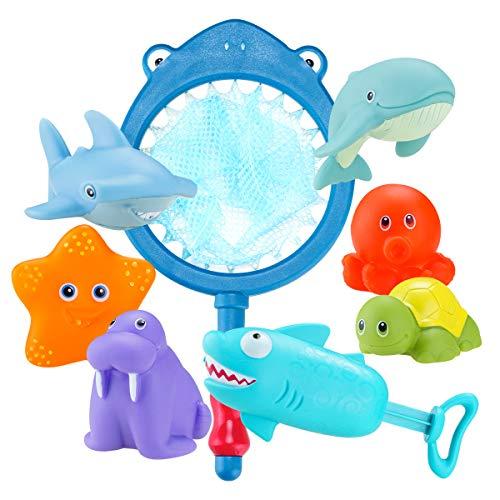 Locisne 8pcs Ocean Animal Baby Bath Toys, Spraying Floats Safe Bath Game Toy de Regalo para niños (Net, Starfish, Seal, Dolphin, Turtle, Octopus, Shark, Shark Gun)