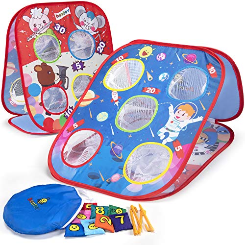 beetoy Bean Bags Toss Game for Kids Collapsible Double Sides Cornhole Game Set with 8 Bean Bags Portable Ourdoor Game for All Ages