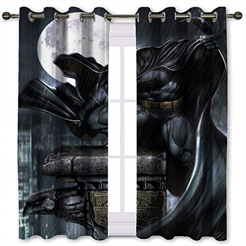 SSKJTC Cortinas cortas para ventana con diseño de Batman lluvioso Día Luna Reloj sólido anillo superior (106 x 160 cm)