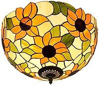 天井ランプ、バスルームライト アメリカの牧歌的な太陽の花ステンドグラスのシェードのフィクスチャペンダントの照明、12inch (Size : 16Inch)