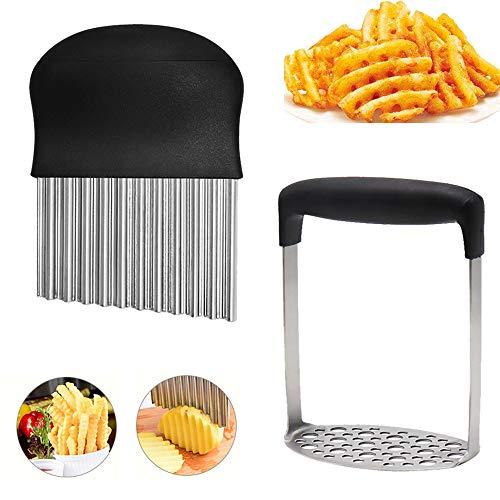 Kartoffelstampfer/Ausstecher-Set aus Edelstahl, mit rutschfestem Griff, gewellter Kartoffelschneider, Küchenhelfer, Schneidewerkzeug für Kartoffeln, Gemüse, Obst, Waffel, Pommes Frites