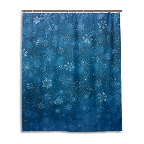 MyDaily Schneeflocken-Winter-Duschvorhang, 152,4 x 182,9 cm, schimmelresistent und wasserfest, Polyester-Dekoration, Badezimmer-Vorhang