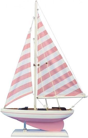 Yacht Hampton Nautical Wooden Rustic Whitewashed Pacific Sailer Model Sailboat Decoration 17