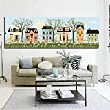 HD Print Abstract Yellow House Flowers Tree Pastoral Landscape Oil Painting on Canvas Modern Wall Picture Poster For Living Room 50x150 CM (sin marco)