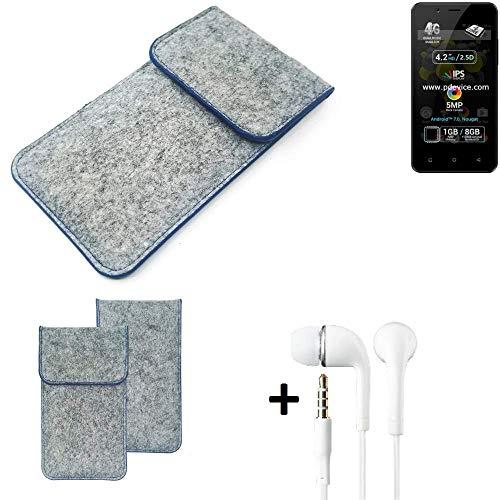 K-S-Trade® Filz Schutz Hülle Für Allview P4 Pro Schutzhülle Filztasche Pouch Tasche Handyhülle Filzhülle Hellgrau, Blauer Rand + Kopfhörer