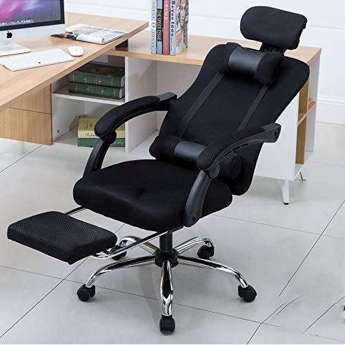 Polandee Home Reclining Office Chair - 300 LB Capacity Ergonomic Computer Mesh Recliner - Executive Swivel Office Desk Chair - Task Chair with Hidden Footrest?Headrest and Lumbar Pillow (BK-Black)