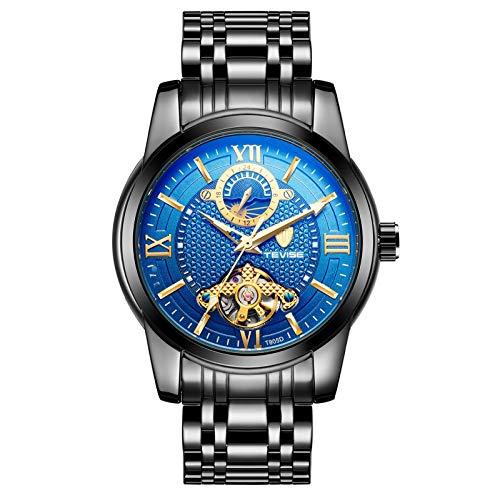 QZPM Hombres Automático Mecánico Relojes Acero Inoxidable Bracelet Analógico Luminosa Multifunción Impermeable Cronógrafo Business Relojes,Black Blue