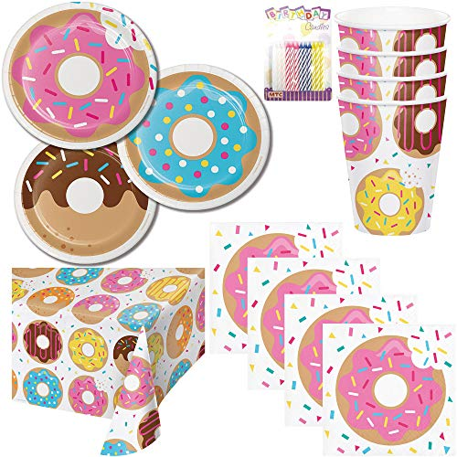 Donut Theme Party Supplies Pack Serves 16: Dessert Plates, Beverage Napkins, Cups, Table Cover, and Birthday Candles